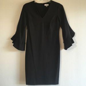 Calvin Klein Dress Cocktail Ruffled Long Sleeves